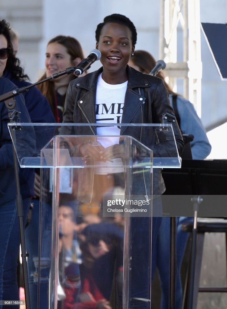 Actor Lupita Nyong'o speaks during the Women's March Los Angeles 2018 on January 20, 2018 in Los Angeles, California.