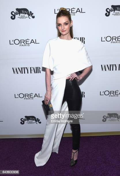 Actor Lydia Hearst attends Vanity Fair and L'Oreal Paris Toast to Young Hollywood hosted by Dakota Johnson and Krista Smith at Delilah on February 21...
