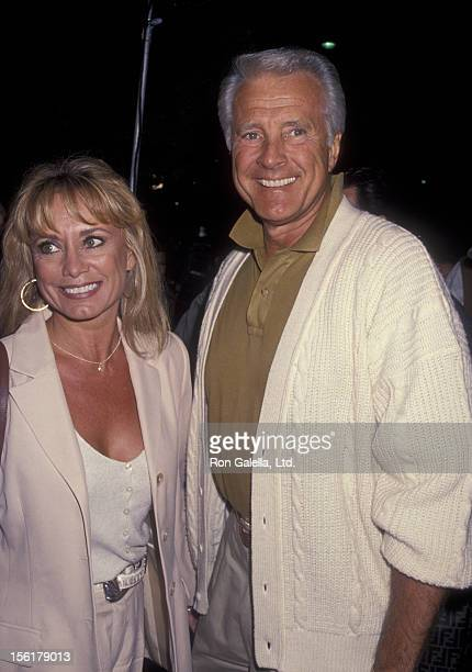 Actor Lyle Waggoner and wife Sharon Kennedy attend the premiere of 'Threesome' on April 18 1994 at the Academy Theater in Beverly Hills California