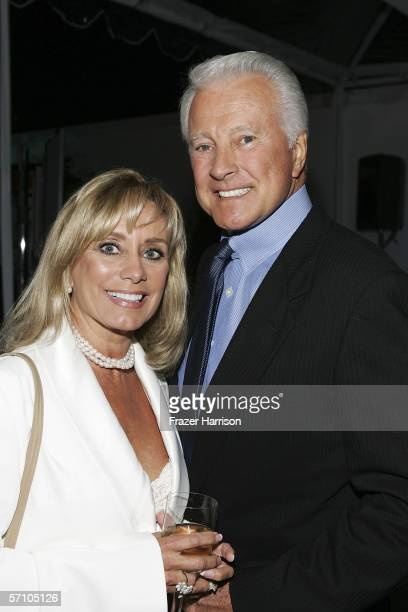 Actor Lyle Waggoner and wife Sharon Waggoner pose at the AOL and Warner Bros Launch of In2TV at the Museum of TV Radio on March 15 2006 in Beverly...