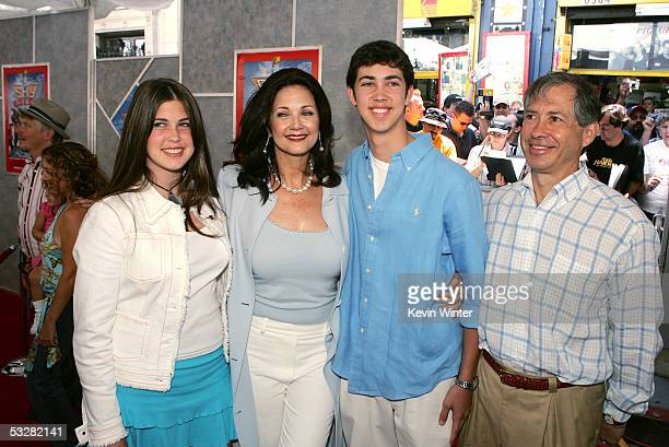 """Actor Lynda Carter and her family arrive at the premiere of """"Sky High"""" at the El Capitan Theater on July 24, 2005 in Hollywood, California."""