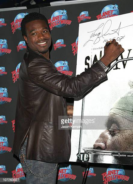 Actor Lyriq Bent donates memorabilia from Saw IV at Planet Hollywood Times Square on October 25, 2007 in New York City.