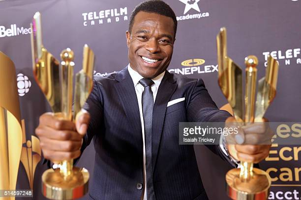 Actor Lyriq Bent winner of best actor in a leading roll attends the Canadian Screen Awards at Westin Harbour Castle Hotel on March 9 2016 in Toronto...