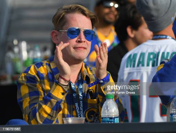 Actor Macaulay Culkin attends the game between the Los Angeles Rams and the Arizona Cardinals at the Los Angeles Memorial Coliseum on December 29,...