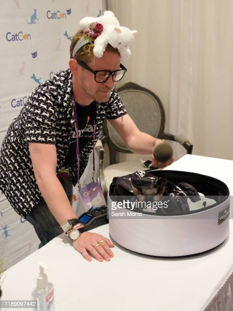 Actor Macaulay Culkin interviews The Dark Lord during 2019 CatCon at Pasadena Convention Center on June 29, 2019 in Pasadena, California.