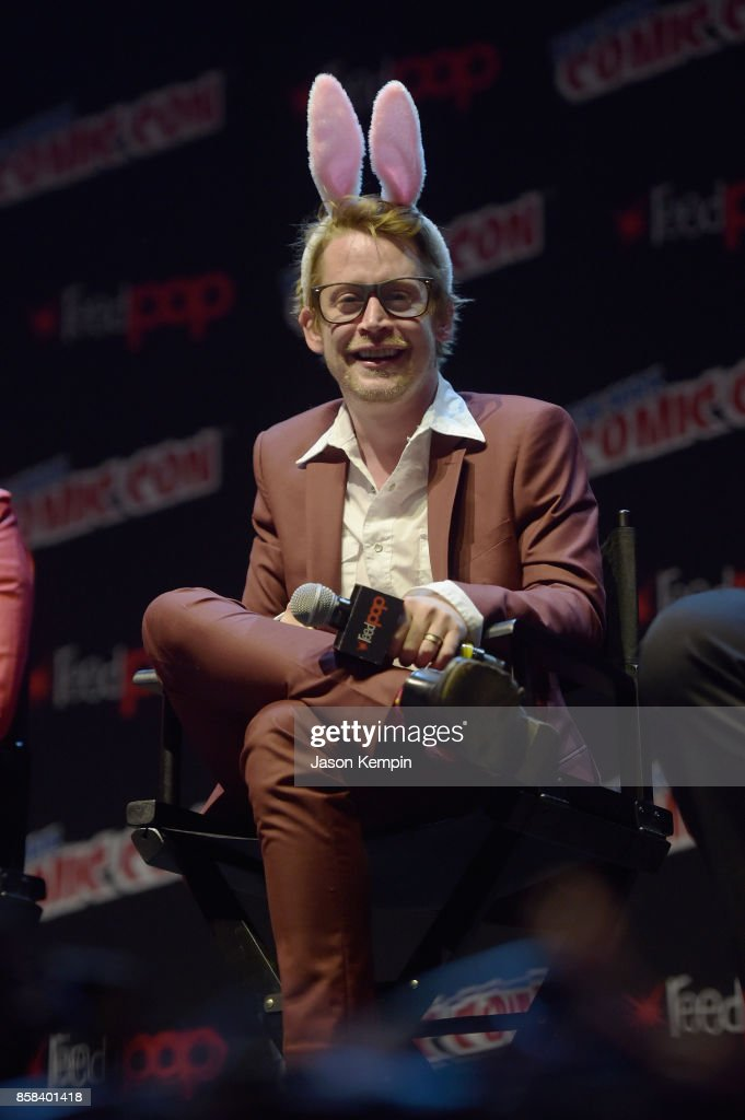 Actor Macaulay Culkin speaks onstage at the Robot Chicken Panel during New York Comic Con 2017 -JK at Hammerstein Ballroom on October 6, 2017 in New York City. 27356_002