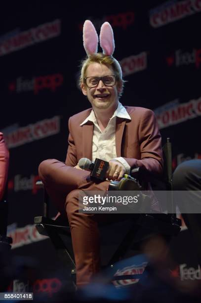 Actor Macaulay Culkin speaks onstage at the Robot Chicken Panel during New York Comic Con 2017 JK at Hammerstein Ballroom on October 6 2017 in New...