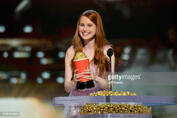 Actor Madelaine Petsch accepts award onstage at the 2018 MTV Movie And TV Awards at Barker Hangar on June 16 2018 in Santa Monica California