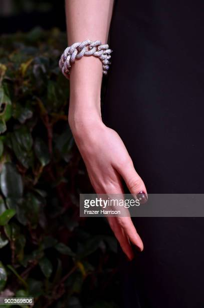 Actor Madeline Brewer jewelry detail attends The 75th Annual Golden Globe Awards at The Beverly Hilton Hotel on January 7 2018 in Beverly Hills...