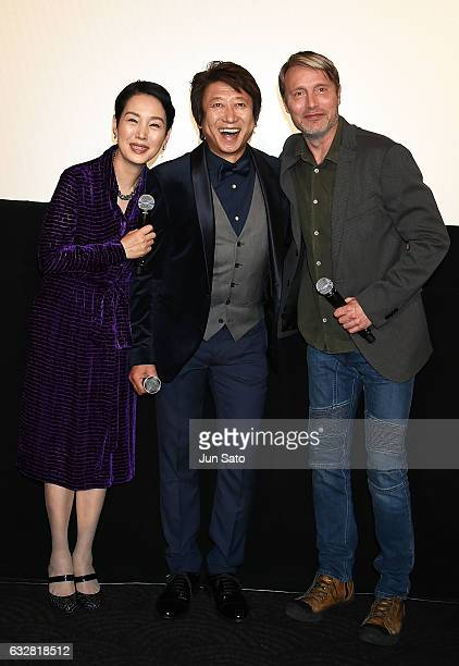 Actor Mads Mikkelsen actress Kanako Higuchi and voiceover cast Kazuhiko Inoue attend the stage greeting for 'Doctor Strange' at Roppongi Hills on...
