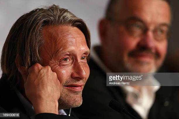 Actor Mads Mikkelsen and director Arnaud des Pallieres attend the press conference for 'Michael Kohlhaas' during The 66th Annual Cannes Film Festival...