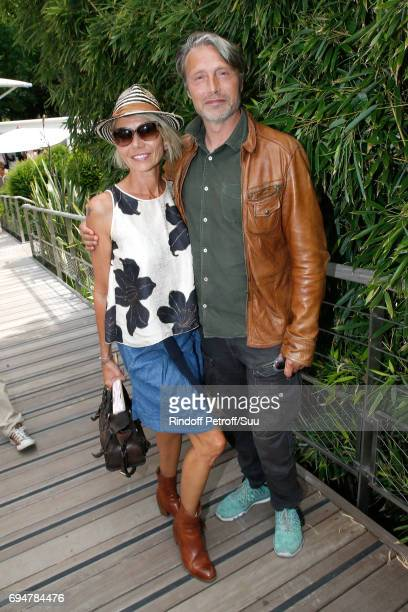 Actor Mads Mikkelsen and his wife Hanne Jacobsen the Men Final of the 2017 French Tennis Open Day Fithteen at Roland Garros on June 11 2017 in Paris...