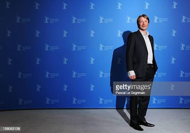 Actor Mads Mikkelsen attends the 'En Kongelig Affaere' Photocall during day eight of the 62nd Berlin International Film Festival at the Grand Hyatt...