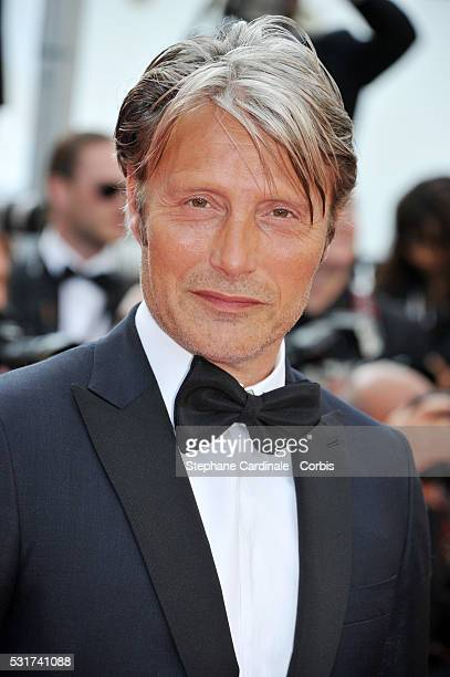 Actor Mads Mikkelsen attends the 'Loving' premiere during the 69th annual Cannes Film Festival at the Palais des Festivals on May 16 2016 in Cannes...