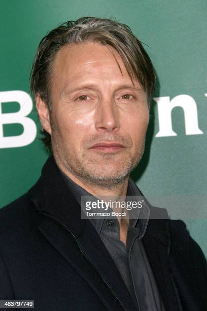 Actor Mads Mikkelsen attends the NBC/Universal 2014 TCA Winter Press Tour held at The Langham Huntington Hotel and Spa on January 19 2014 in Pasadena...