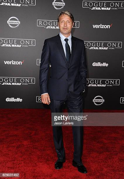 Actor Mads Mikkelsen attends the premiere of Rogue One A Star Wars Story at the Pantages Theatre on December 10 2016 in Hollywood California
