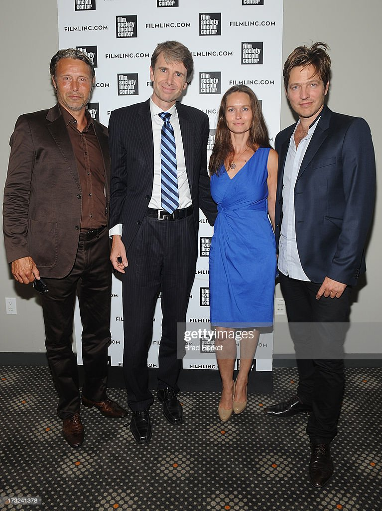 Actor Mads Mikkelsen, Consul General in New York, Ambassador Jarl Frijs-Madsen, Kristina Djurhuus and Writer, Director Thomas Vinterberg attend 'The Hunt' New York Premiere at Elinor Bunin Munroe Film Center on July 10, 2013 in New York City.
