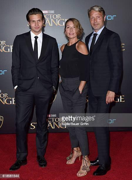 Actor Mads Mikkelsen wife Hanne Jacobsen and son Carl Jacobsen Mikkelsen arrive at the Los Angeles Premiere of 'Doctor Strange' on October 20 2016 in...