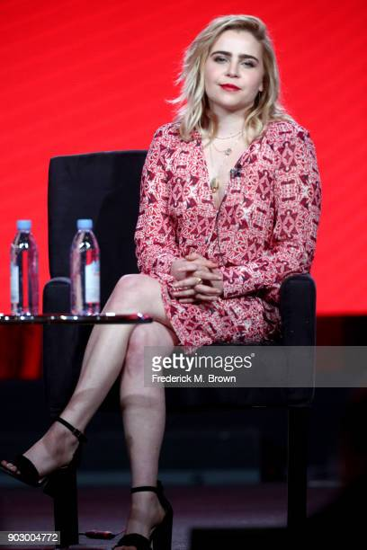 Actor Mae Whitman of 'Good Girls' speaks onstage during the NBCUniversal portion of the 2018 Winter Television Critics Association Press Tour at The...