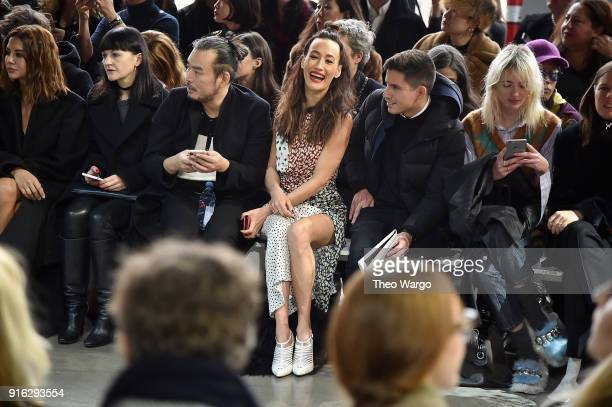 Actor Maggie Q attends the Jason Wu front row during New York Fashion Week The Shows at Gallery I at Spring Studios on February 9 2018 in New York...
