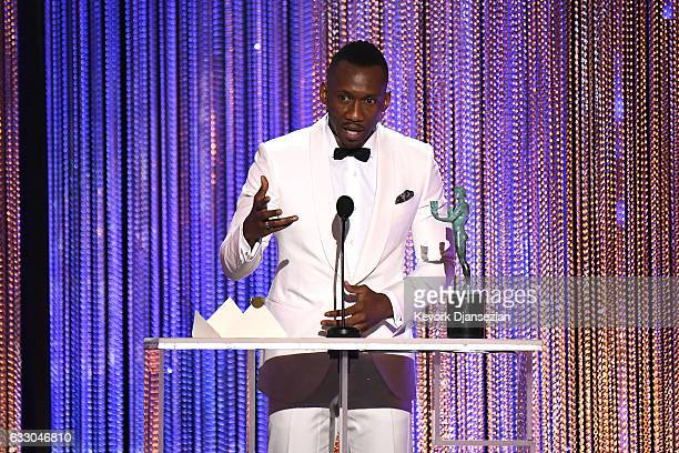 Actor Mahershala Ali accepts the award for Best Male Actor in a Supporting Role for 'Moonlight,' onstage during the 23rd Annual Screen Actors Guild...