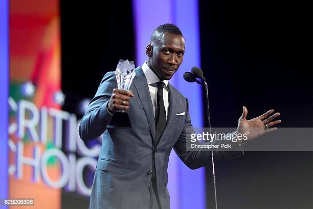 Actor Mahershala Ali accepts the Best Supporting Actor award for 'Moonlight' onstage during The 22nd Annual Critics' Choice Awards at Barker Hangar...