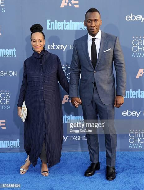 Actor Mahershala Ali and wife Amatus SamiKarim arrive at The 22nd Annual Critics' Choice Awards at Barker Hangar on December 11 2016 in Santa Monica...