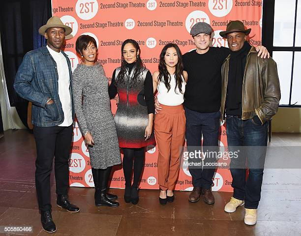 Actor Mahershala Ali playwright Lydia R Diamond actors Tessa Thompson Anne Son and Joshua Jackson and director Kenny Leon attend the 'Smart People'...