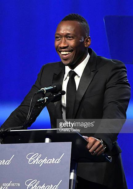 Actor Mahershala Ali speaks onstage at the 28th Annual Palm Springs International Film Festival Film Awards Gala at the Palm Springs Convention...