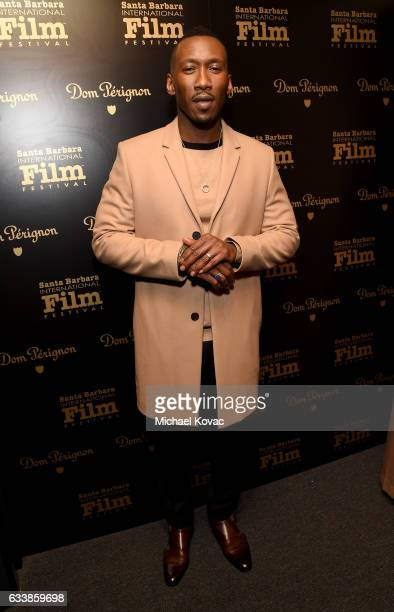 Actor Mahershala Ali visits the Dom Perignon Lounge before receiving the Virtuosos Award at The Santa Barbara International Film Festival on February...