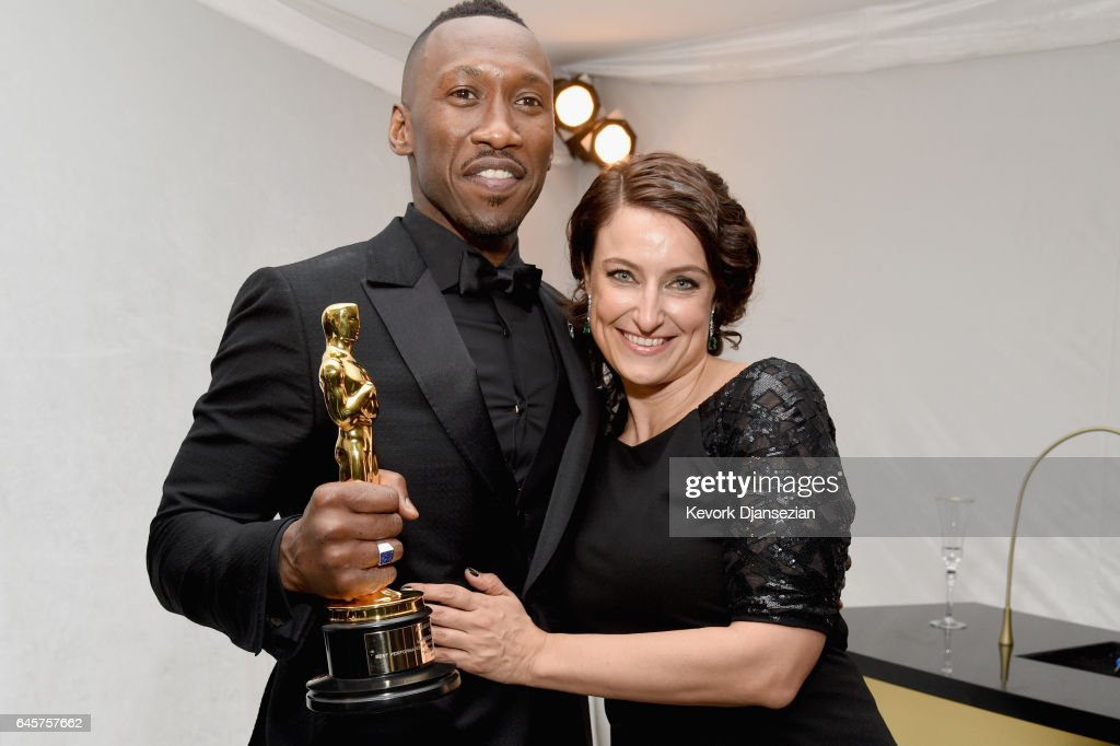 Actor Mahershala Ali (L), winner of the award for Actor in a Supporting Role for 'Moonlight,' and producer Adele Romanski, winner of the award for Best Picture for 'Moonlight,' attend the 89th Annual Academy Awards Governors Ball at Hollywood & Highland Center on February 26, 2017 in Hollywood, California.