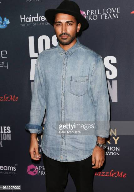 Actor Mahesh Jadu attends the Domingo Zapata Fashion Show at the Los Angeles Fashion Week 10th season anniversary at The MacArthur on March 12 2018...