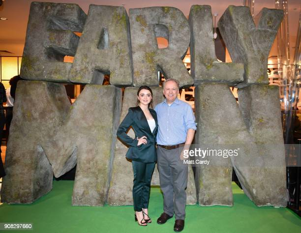 Actor Maisie Williams and director Nick Park attend the Bristol premiere of 'Early Man' at Showcase Cinema de Lux Bristol on January 21 2018 in...