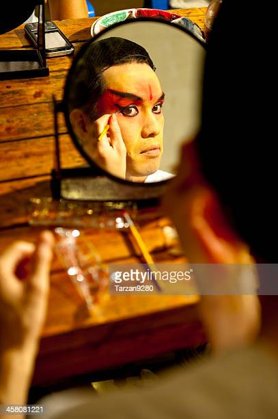 Actor making up at back stage