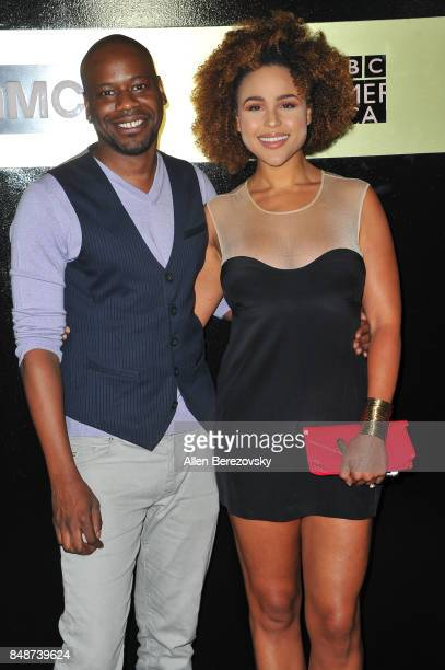 Actor Malcolm Barrett and actress Hayley Marie Norman attend AMC Networks 69th Primetime Emmy Awards after party celebration at BOA Steakhouse on...