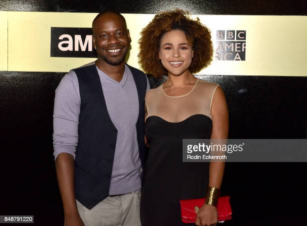 Actor Malcolm Barrett and guest attend AMC Networks 69th Primetime Emmy Awards afterparty celebration at BOA Steakhouse on September 17 2017 in West...