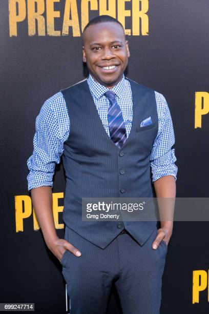 Actor Malcolm Barrett arrives for the Premiere Of AMC's 'Preacher' Season 2 at The Theatre at Ace Hotel on June 20 2017 in Los Angeles California