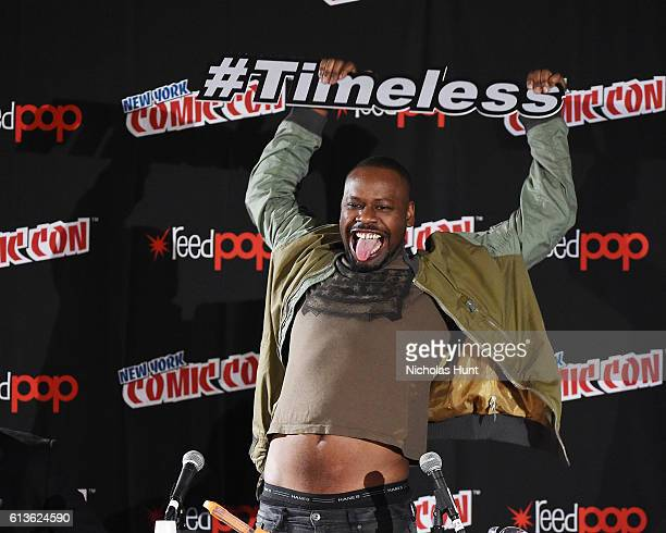 Actor Malcolm Barrett attends NBCs 'Timeless ' Screening Panel during the 2016 New York Comic Con Day 4 at on October 9 2016 in New York City