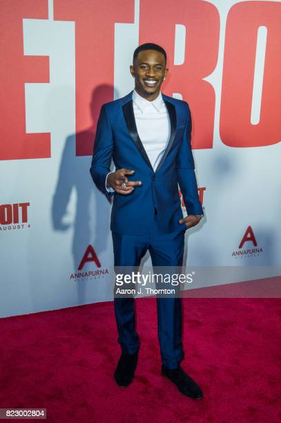 Actor Malcolm David Kelley arrives at the premiere for 'Detroit' at the Fox Theater on July 25 2017 in Detroit Michigan