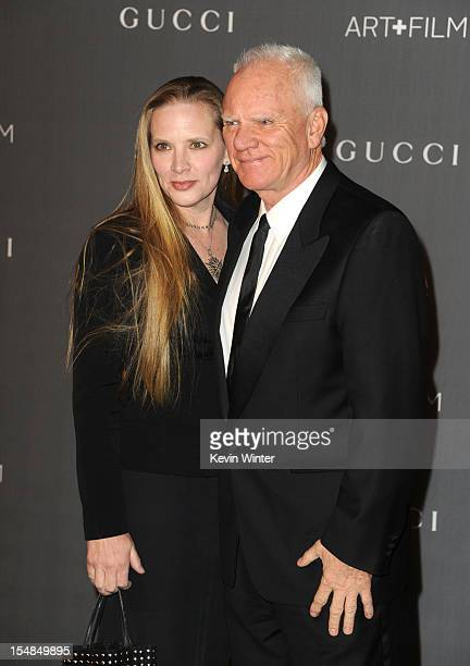 Actor Malcolm McDowell and Kelley Kuhr arrive at LACMA 2012 Art Film Gala at LACMA on October 27 2012 in Los Angeles California