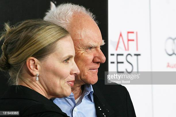 Actor Malcolm McDowell and Kelley Kuhr attend the AFI FEST 2011 special screening of The Artist held at the Grauman's Chinese Theatre on November 8...