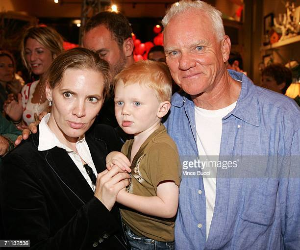 """Actor Malcolm McDowell and wife Kelley Kuhr and son Bennett attend a private reception for the premiere of the short film """"Bye Bye Benjamin"""" on June..."""