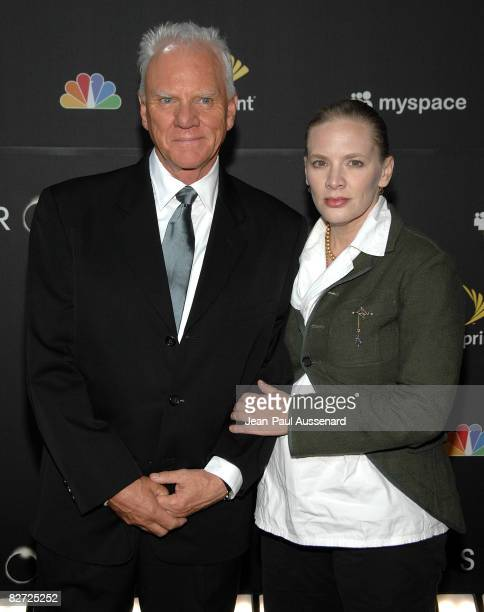 """Actor Malcolm McDowell and wife Kelley Kuhr arrive at the """"Heroes"""" countdown to the Premiere event held at the Edison Lounge on Sunday September 7th,..."""