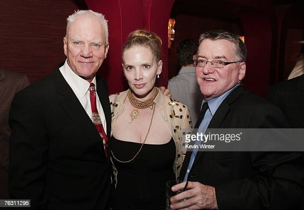 """Actor Malcolm McDowell , Kelley Kuhr and producer Andy Gould pose at the afterparty for the premiere of MGM's """"Halloween"""" at the Geisha House on..."""