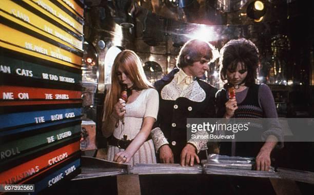 Actor Malcolm McDowell on the set of Clockwork Orange