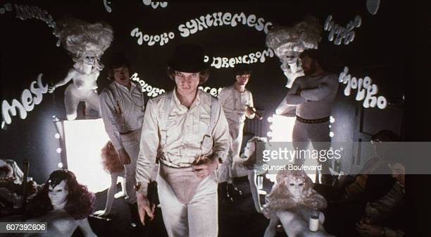 Actor Malcolm McDowell on the set of 'Clockwork Orange'