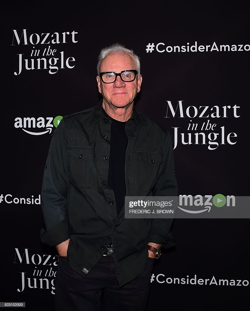 Actor Malcolm McDowell poses on arrival for a Special Screening of 'Mozart In The Jungle' in Hollywood, California on April 21, 2016. / AFP / FREDERIC