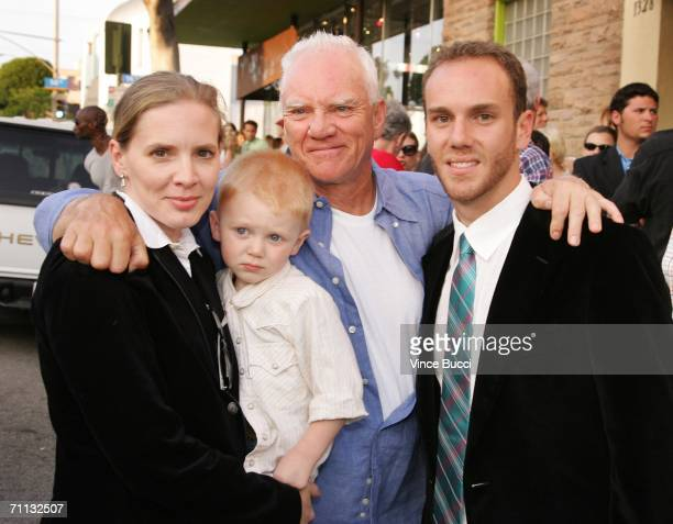 Actor Malcolm McDowell poses with his Wife Kelley and son Bennett and older son, producer/director Charlie McDowell at the premiere of the short film...
