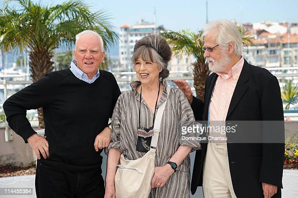 "Actor Malcolm McDowell with Stanley Kubrick's Widow Christiane Kubrick and producer Jan Harlan attends the ""Le Lechon De Cinema: Malcom McDowell""..."