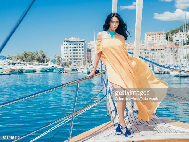 Actor Mallika Sherawat wearing Wendell Rodricks is photographed for Paris Match on May 20 2017 in Cannes France